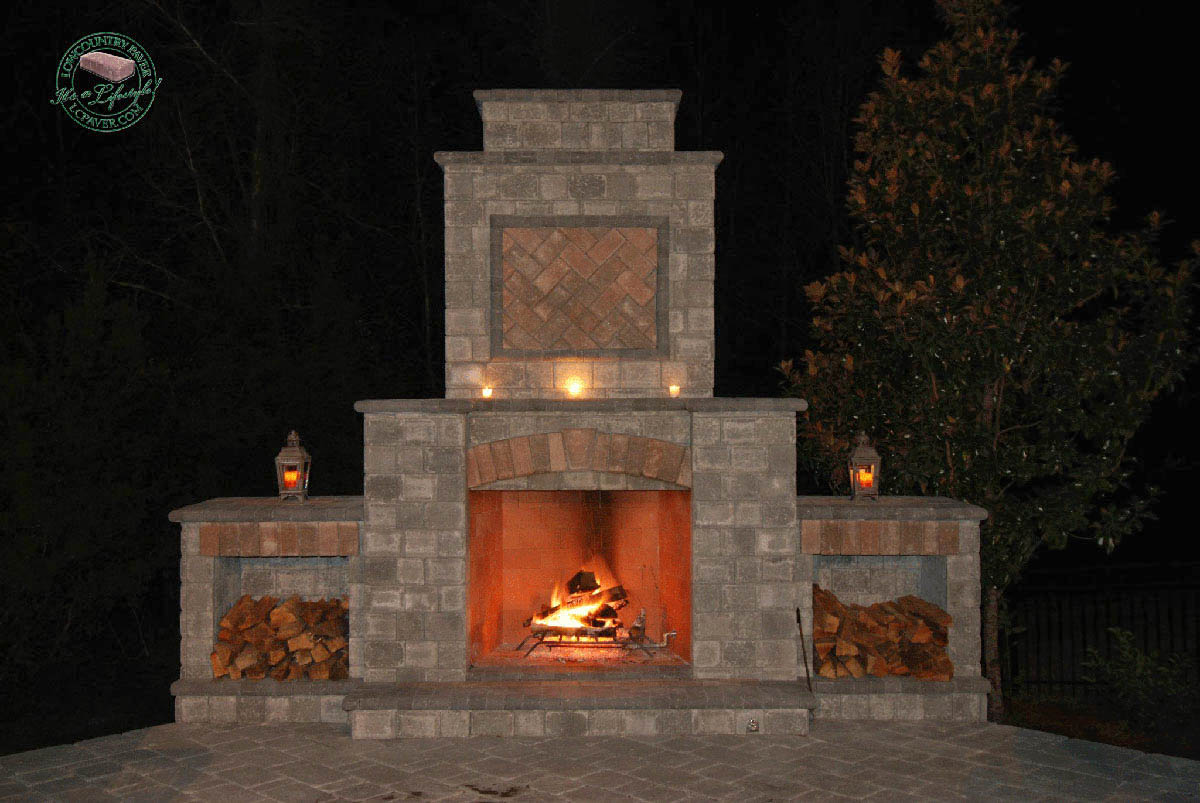 kitchen block rustic chandelier outdoor & fireplace - lowcountry paver