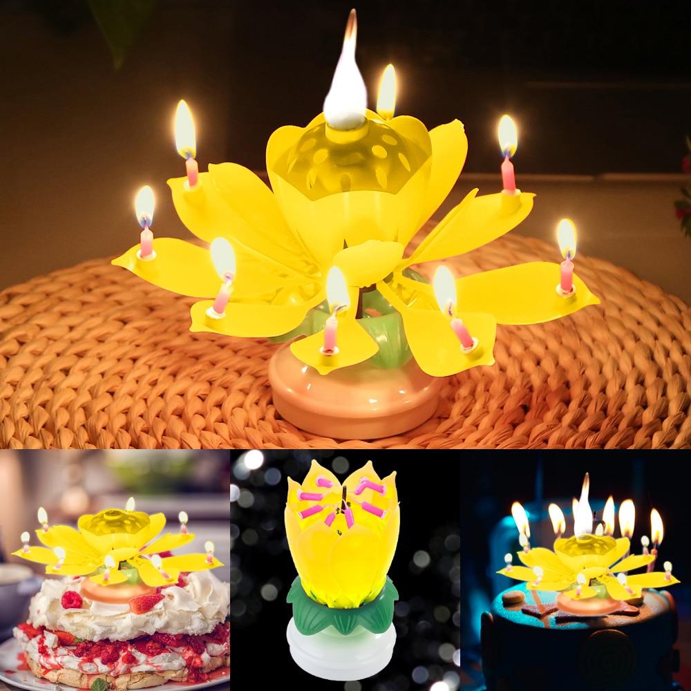 flower candles rotating birthday