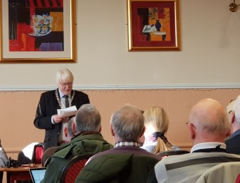 Ian Aldcroft makes his first address as President