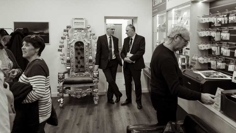 PAGB President Gordon Jenkins and Wilkinson Cameras MD David Parkinson at the official opening of the Masters of Print Exhibition at Wilkinson Cameras on Friday 8th March.