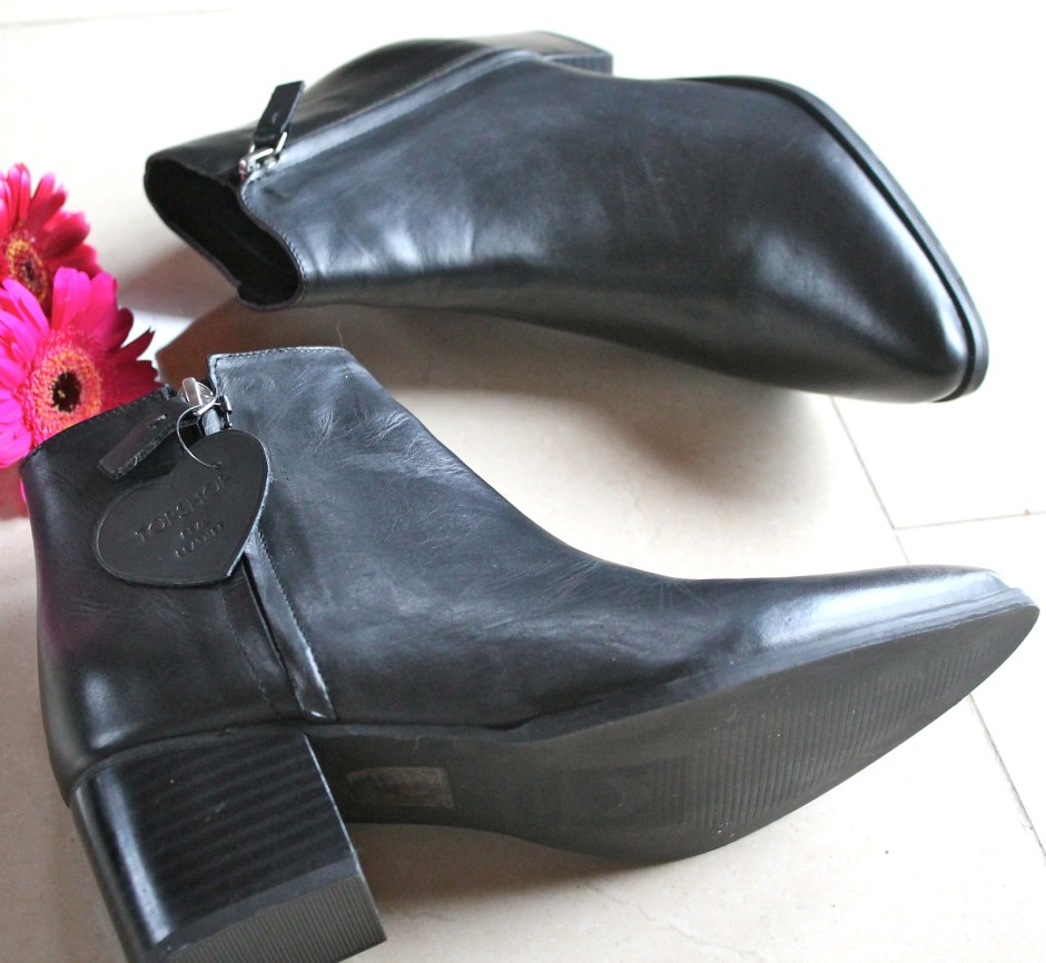 topshop black leather ankle boots 1