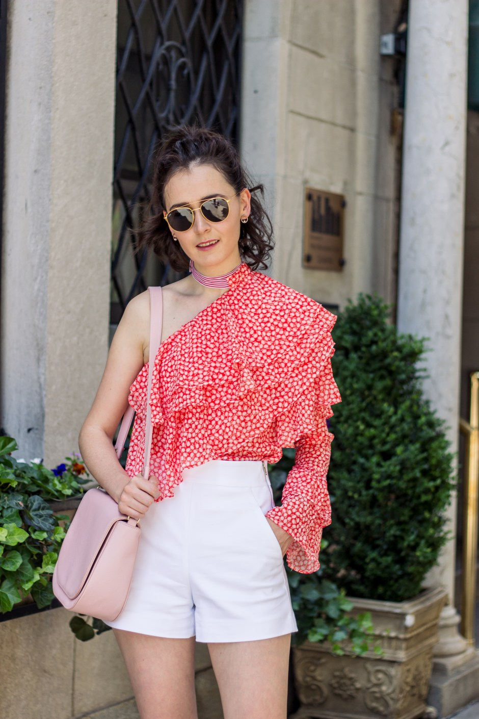 NYC Blogger: Off the shoulder print top 11