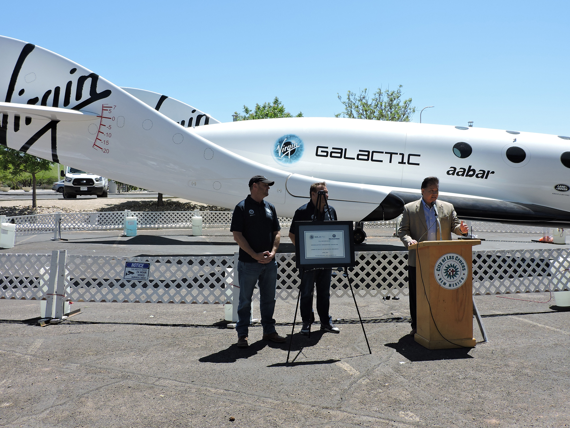 Las Cruces Mayor at ceremony for Replica Virgin Galactic Spaceship at Las Cruces Space Festival