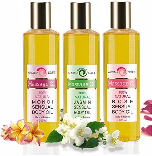 Trio Olio di Vinaccioli Aromatico 3 x 200 ml Rose Champagne, Monoi di Tahiti e Gelsomino