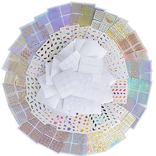 120 Modelli Adesivi per Unghie Attrezzatura Accessori Decorazioni Disegno Carta Trasferimento Fai da Te Set Stickers Nail Art Design Stamping Acqua Bianco Misti Cavo Francese Piuma 72 Fogli 3 Stili