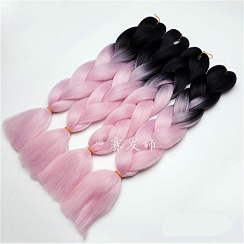 Chiguo 1 Pezzi Jumbo Treccia Hair Extensions di Capelli Sintetici African 24''/60cm Colore Sfumato Intrecciare i Capelli Parrucca Braid (Nero-rosa)