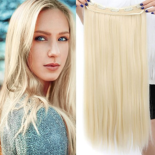 Extension Capelli Clip Biondi Fascia Unica Capelli Lunghi Lisci One Piece Hair Extensions 5 Clips 3/4 Full Head Larga 25cm Lunga 58cm Resistente al Calore