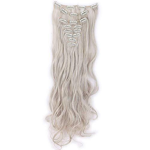 Extension Capelli Clip Estensioni Clip in Hair 8 Fasce Full Head 42cm Capelli Lunghi Mossi Ricci, Nero