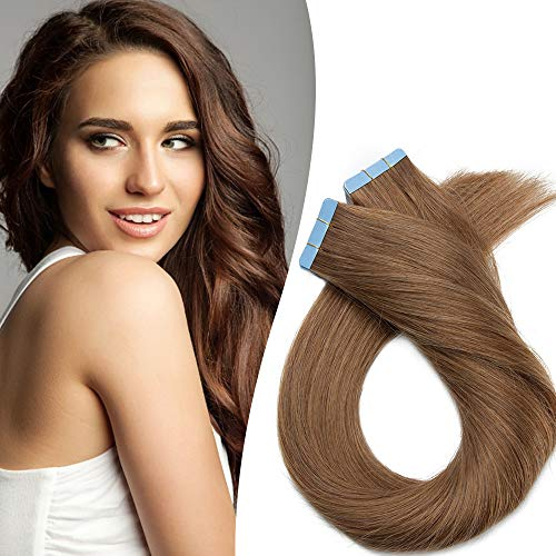 Extension Capelli Veri Biadesivo 40-55cm Estensioni Adesive 20 Fasce 50g/Set 100% Remy Human Hair - Tape in Hair Extension Allungamento(40cm #6 Castano)