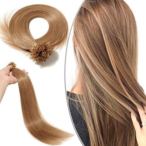 Extension Cheratina Capelli Veri 100 Ciocche - 40cm #12 Marrone Chiaro - 100% Remy Human Hair Pre Bonded U Tip Nail Hair Capelli Naturali Lisci 0.5g/fascia