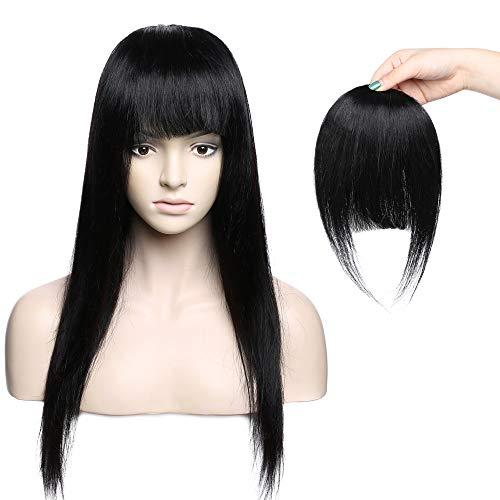 Frangia Clip Capelli Veri Frangetta Extension Capelli Veri Clip Fringe 100% Remy Human Hair Bang Lisci Umani, #1B Nero Naturale