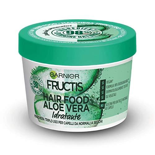 Garnier Maschera Idratante Fructis Hair Food, Maschera Riparatrice 3 in 1 con Formula Vegana per Capelli normali, Aloe, 390 ml