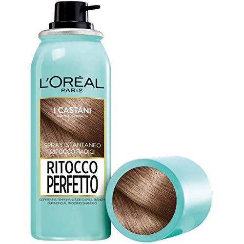 L'Oréal Paris Ritocco Perfetto Spray Ritocco Radici, Colorazione Ricrescita, Copre i Capelli Bianchi e Dura 1 Shampoo, 3 Castano, 75 ml