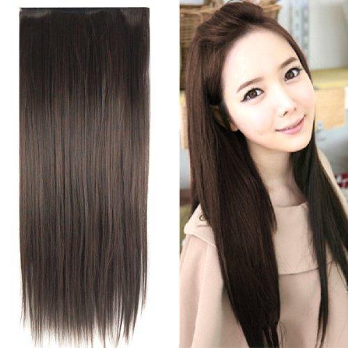 TRIXES Extension da 58 cm capelli lisci testa intera, pezzo unico, color castano scuro.