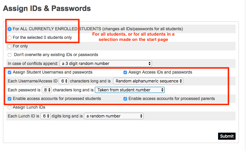 How do I assign (or reset) parent IDs and Passwords for parent