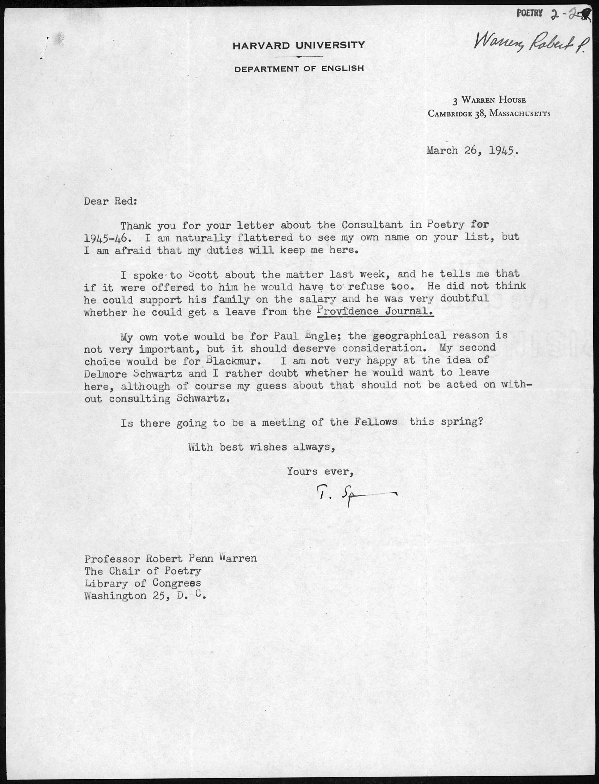 Letter from Theodore Spencer to Robert Penn Warren, March