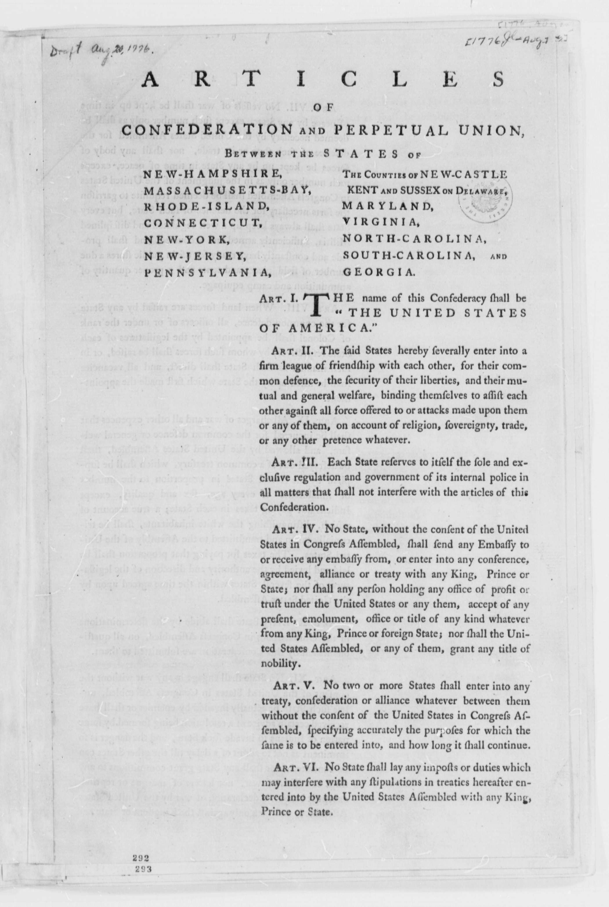 Continental Congress July August Printed Proposals For Articles Of Confederation