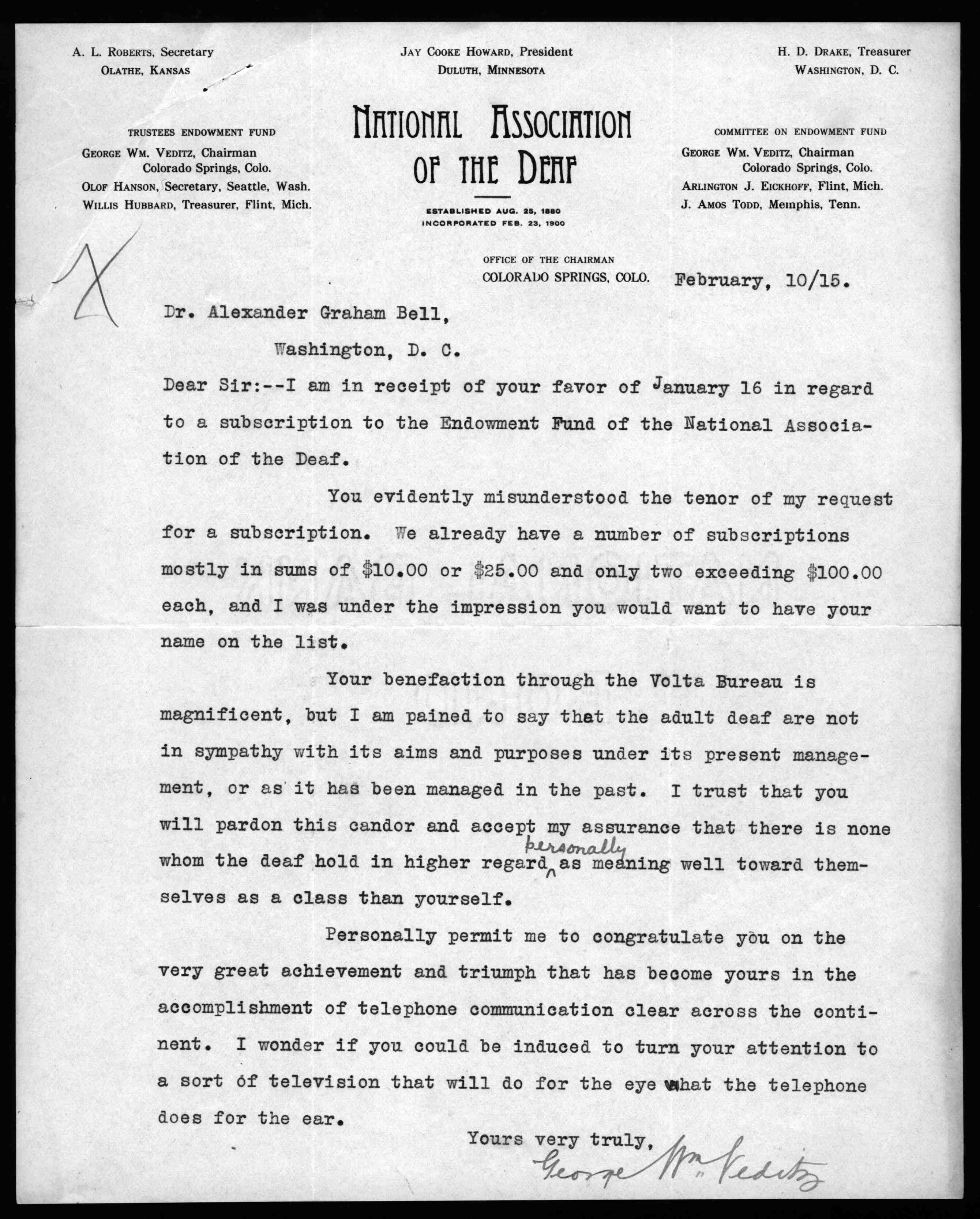 Letter from George W. Veditz to Alexander Graham Bell