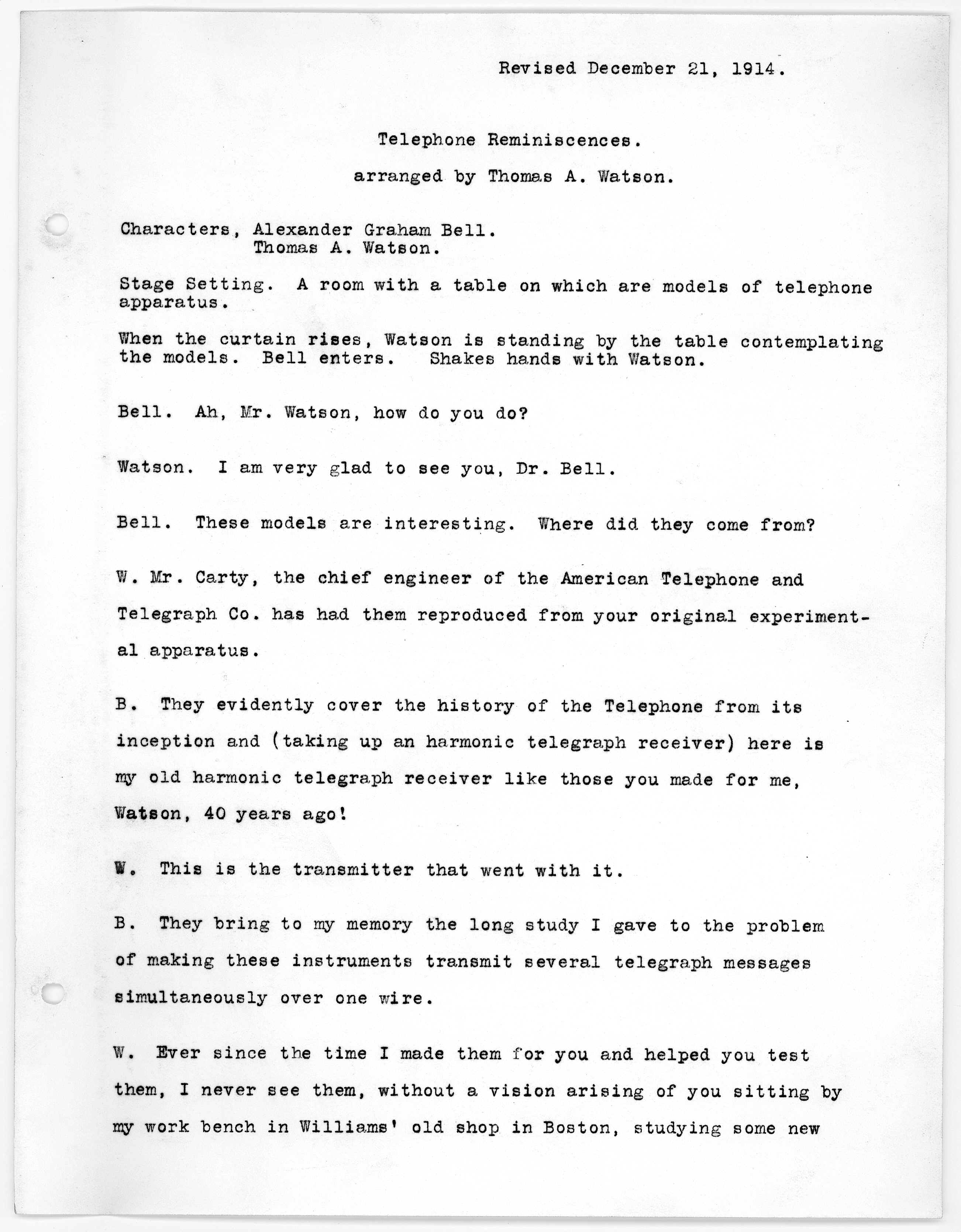 Script By Thomas A Watson December 21 1914 Library Of