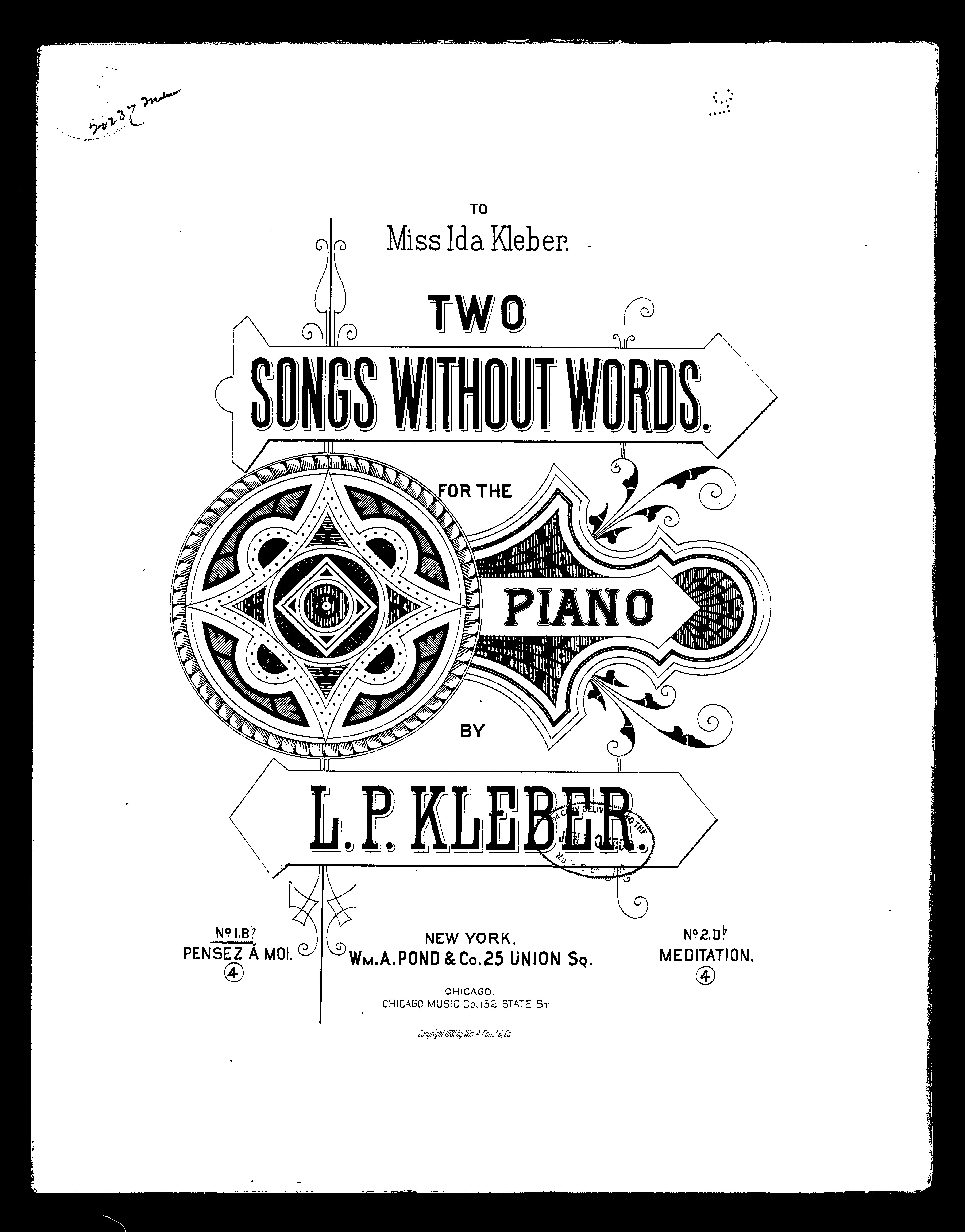 Pensez a moi; Song without words, no. 1 / [sheet music