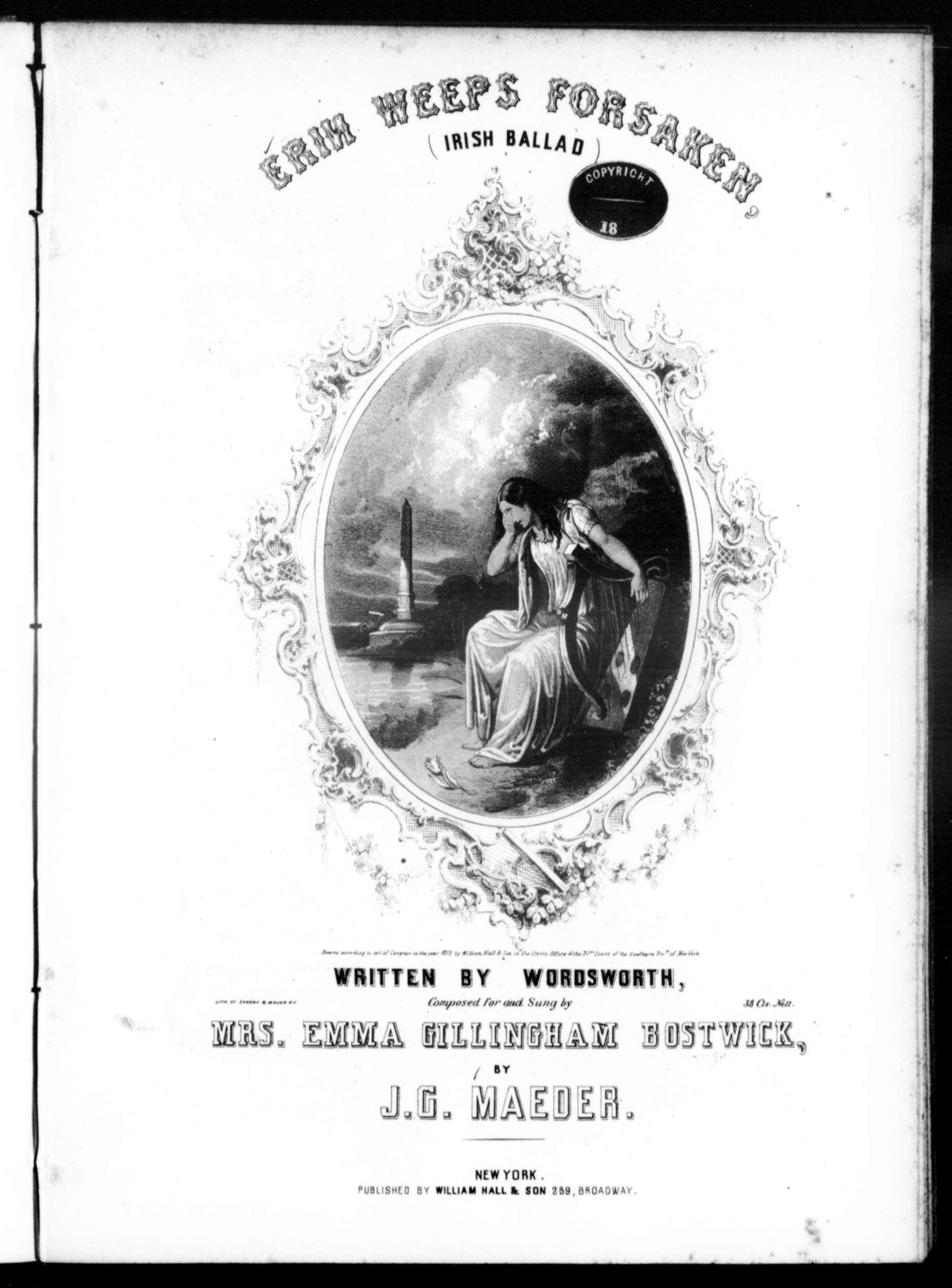 Erin weeps forsaken, Irish ballad / [sheet music]:Print