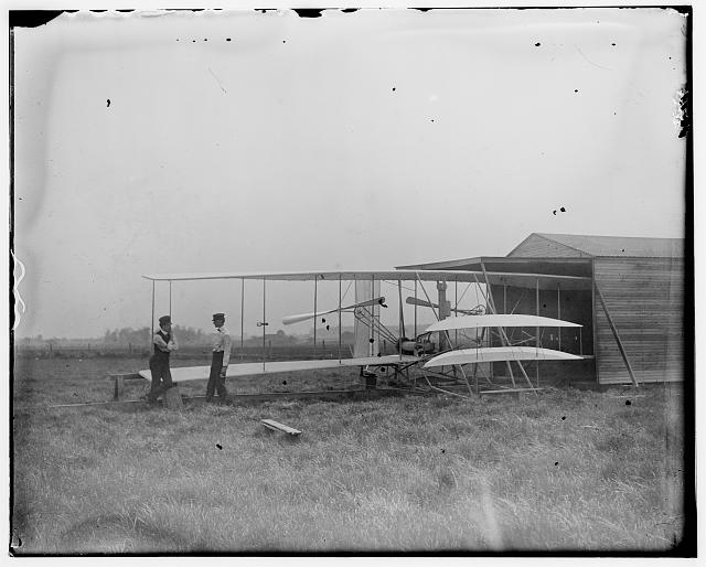 Wilbur and Orville Wright with their second powered machine