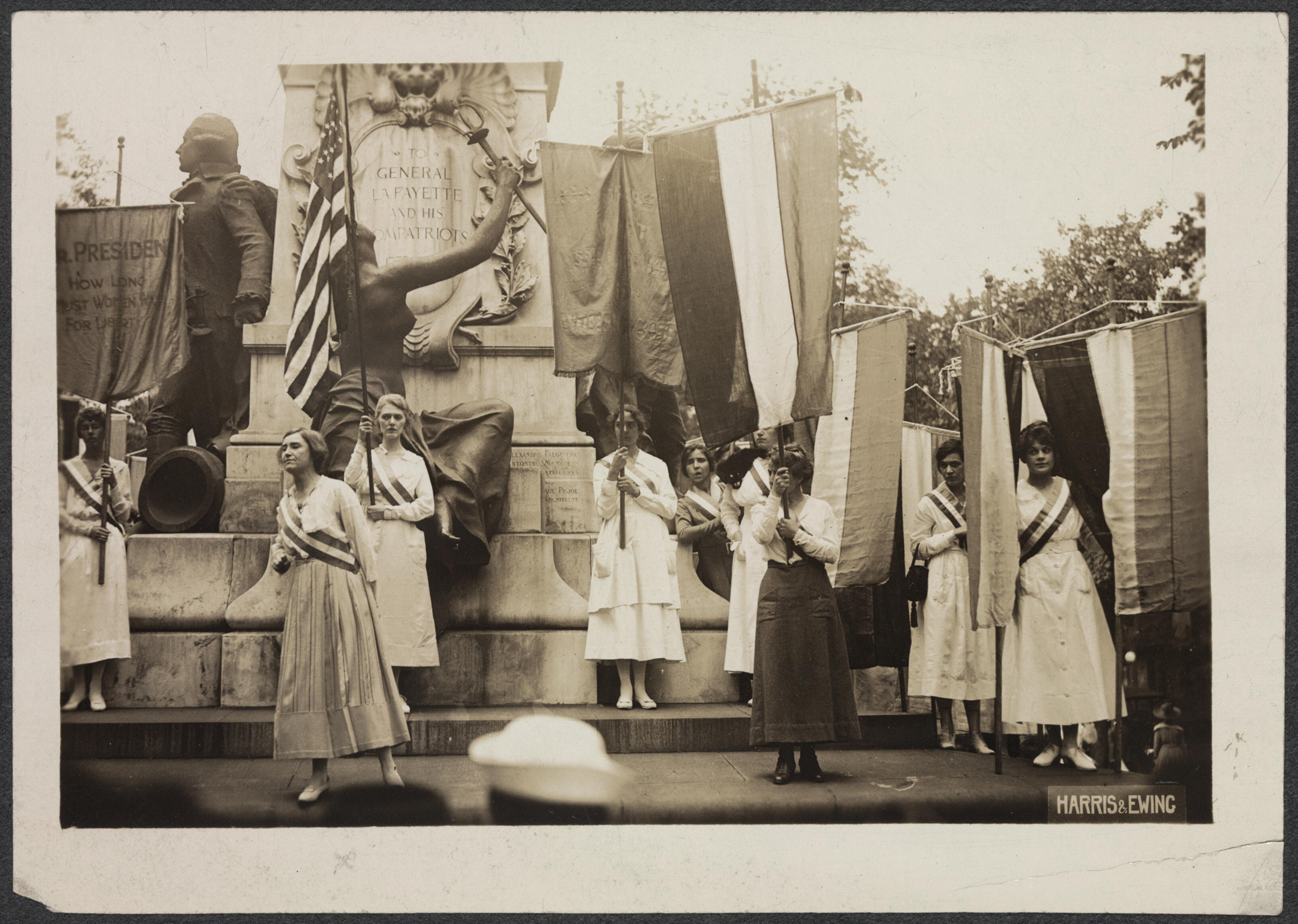 Suffrage demonstration at Lafayette Statue to get the last vote in the Senate before June 4