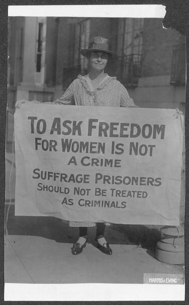 Mary Winsor Penn 17 holding Suffrage Prisoners banner  Library of Congress