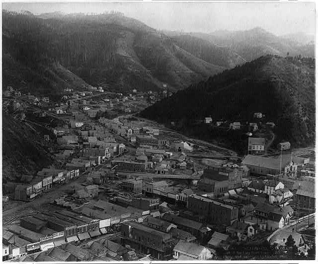 Deadwood, Dakota. A part of the city from Forest Hill