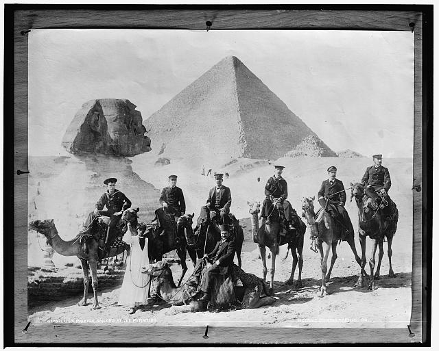 U.S.S. Raleigh, sailors at the pyramids
