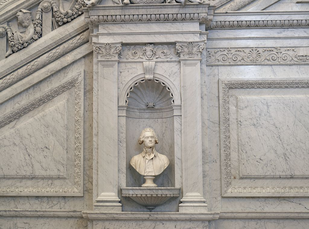Bust of Jefferson in the Great Hall, Library of Congress (Jefferson Building) - photo by Carol Highsmith