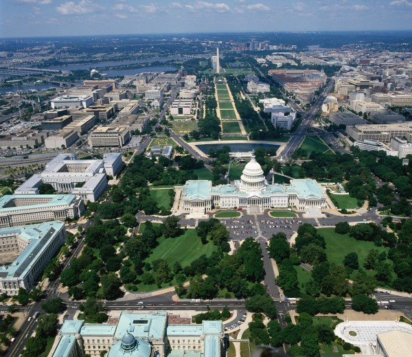 Aerial View Of National Mall With U. Capitol In