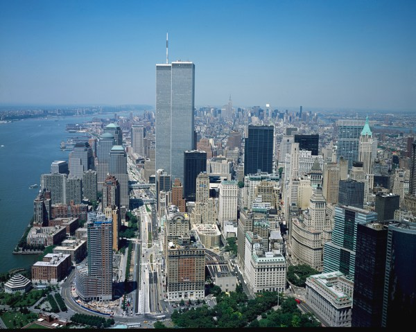 Aerial View Of York City With Twin Towers World Trade Center Visible