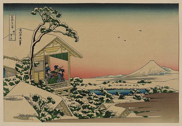 [Teahouse at Koishikawa the morning after a snowfall]