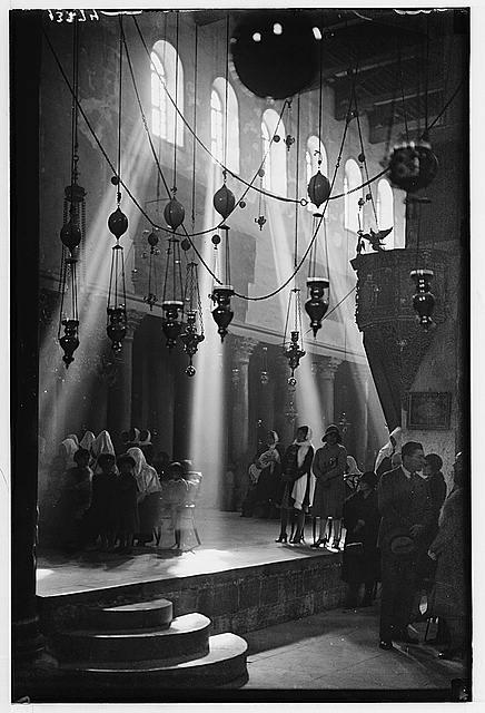 Bethlehem. Interior, Nativity Church at Xmas [i.e., Christmas] time. Sun's rays
