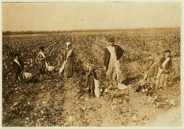 "Family of L.H. Kirkpatrick, Route 1, Lawton, Okla. Children go to Mineral Wells School #39. Father, mother and five children (5, 6, 10, 11 and 12 years old) pick cotton. ""We pick a bale in four days."" Dovey, 5 years old, picks 15 pounds a day (average) Mother said: ""She jess works fer pleasure."" Ertle, 6 years, picks 20 pounds a day (average) Vonnnie, 10 years, picks 50 pounds a day (average) Edward, 11 years, picks 75 pounds a day (average) Otis, 12 years, picks 75 pounds a day (average) Expect to be out of school for two weeks more picking. Father is a renter. Works part of farm on shares (gives 1/4 of cotton for rent) and part of farm he pays cash rent.  Location: Comanche County, Oklahoma"