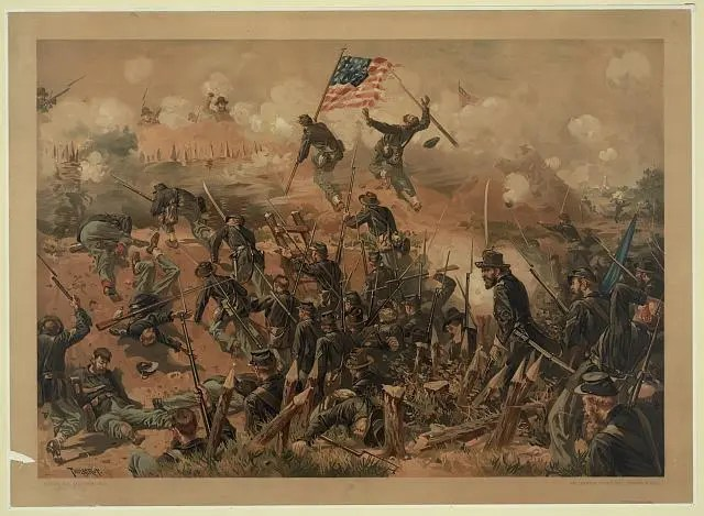 Prang Lithograph of assuant during the Siege of Vicksburg, Mississippi