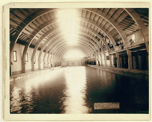 """Hot Springs, S.D."" Interior of largest plunge bath in U.S. on F.E. and M.V. R'y"