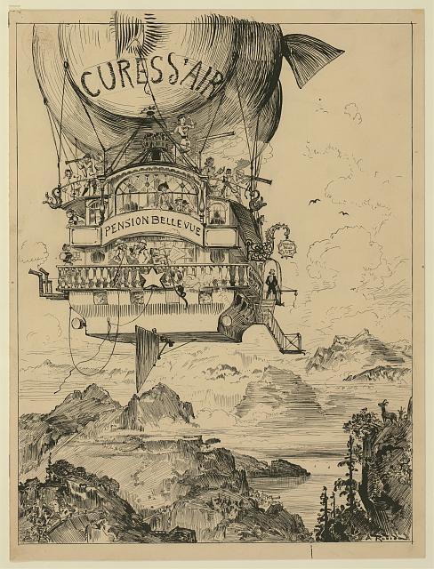 Cures d'air dans la montagne, Albert Robida c.1883 (Íomhá: Leabharlann na Comhdhála, SAM)