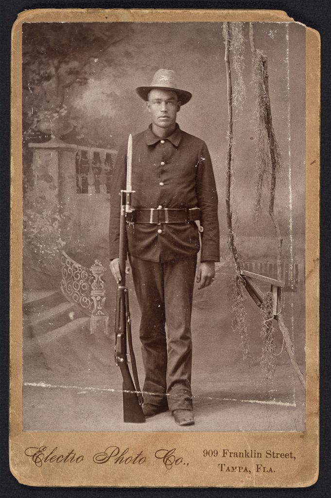 Spanish American War Infantry holding Krag rifle with