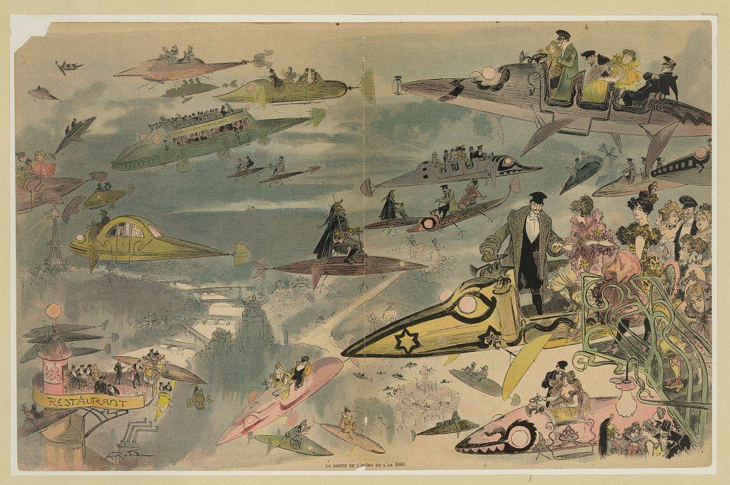 Le Sortie de l'opéra en l'an 2000, Albert Robida, c.1882 (Íomhá: Leabharlann na Comhdhála, SAM)