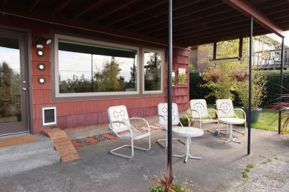 Outside the basement, the existing covered patio.
