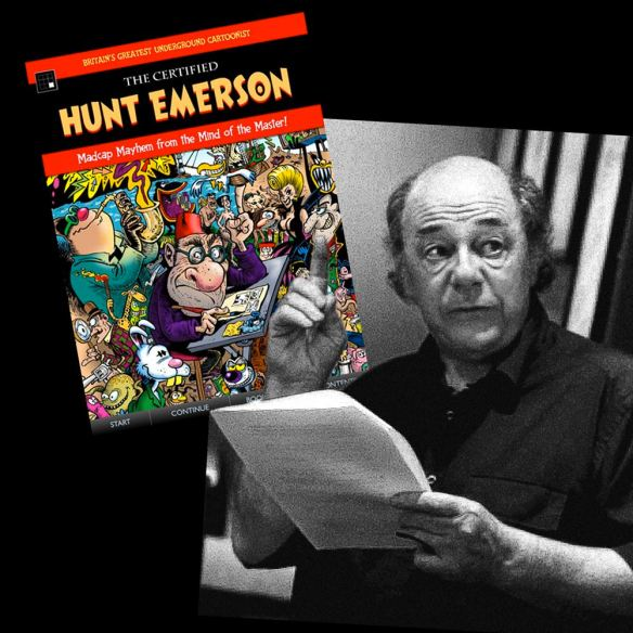 Laydeez Do Comics 3_8_2015_Hunt Emerson BW Photo, with Certified Hunt Emerson Book imposed
