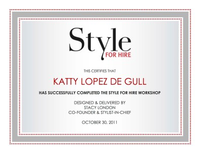 Style For Hire Certificate
