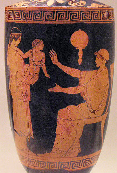 """Greek slave presenting infant to its mother, vase, Eretria, Ancient Greece, 470-460 B.C., courtesy of the National Archaeological Museum.<a title=""""National Archaeological Museum, Athens, Greece"""" href=""""http://www.namuseum.gr/wellcome-en.html"""" target=""""_blank""""><br /></a>"""