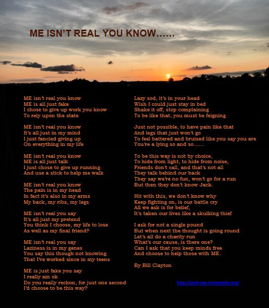 ME isn't real by Bill Clayton