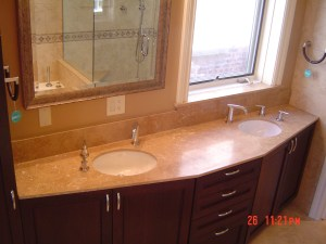 Travertine Vanity Top with Double Sink
