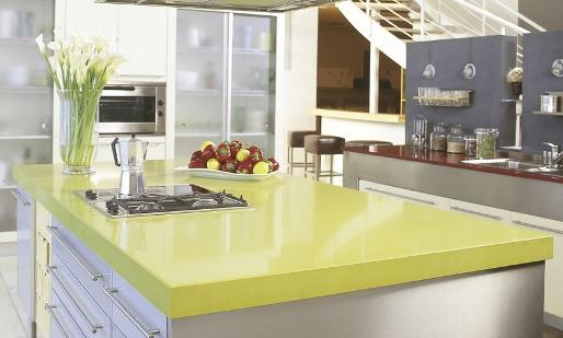 Green caesarstone kitchen island