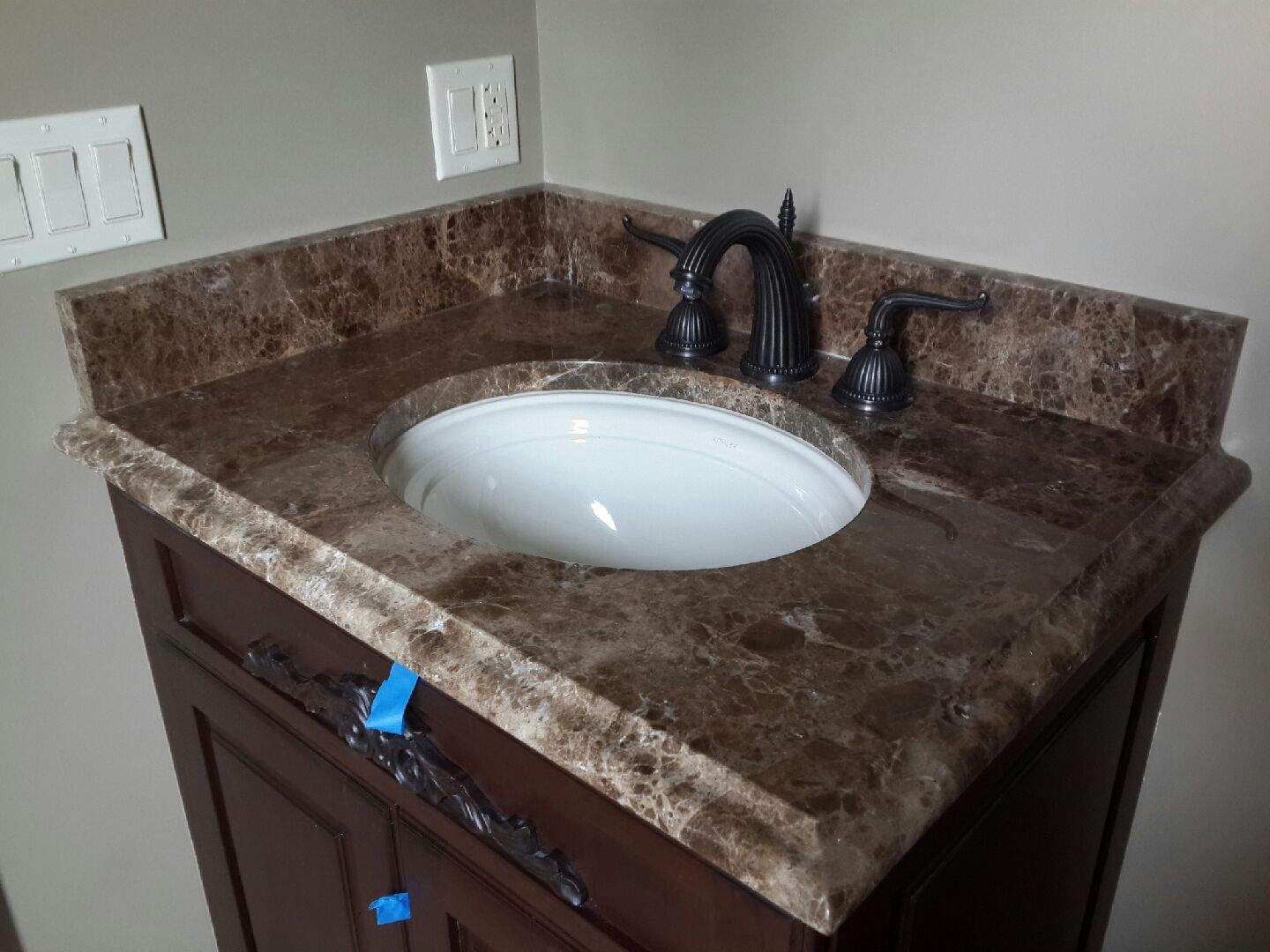 Stone Vanity Tops For Bathrooms : Emperador dark marble vanity top chicago instalation ldk