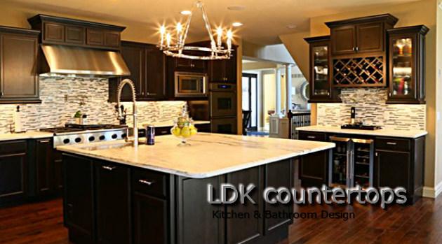 Granite Countertops Park Ridge IL - Dark Cabinets with light granite